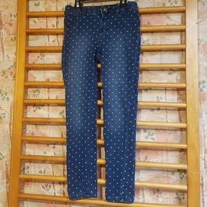 Polka Dot Dark Blue Denim Knit Jeggings 7-8 Girls